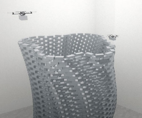 Researchers will build a 20-foot tall tower using flying robots. (Courtesy FRAC Centre)