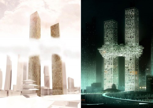 An early concept rendering of the Cloud tower and a rendering of the final design released last week. (Courtesy MVRDV)