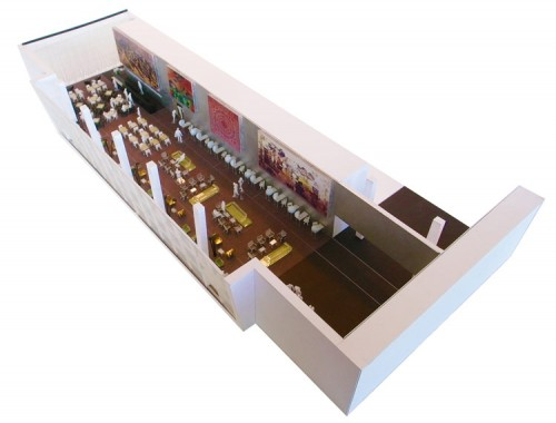 Axonometric view of the new space. (Courtesy OMA)