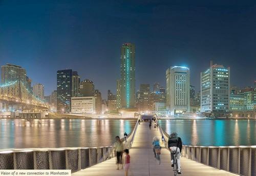 Proposed pedestrian bridge from Manhattan to Roosevelt Island.