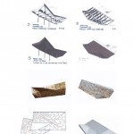 Fabrication diagrams of the folding roof structure and models of the petal panels (Brooks + Scarpa)