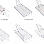 Evolution of original loading dock canopy into new folded entrance roof (Brooks + Scarpa)
