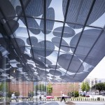 Perforated panels shade the new lobby (Brooks + Scarpa)