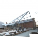 Construction of folded roof structure (Brooks + Scarpa)