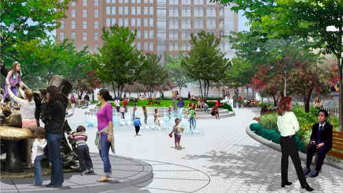 A VIEW LOOKING EAST THROUGH THE TRIANGLE PARK PLAN BY M. PAUL FRIEDBERG AND PARTNERS. (COURTESY WESTSIDE HEALTHCARE COALITION)