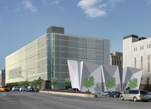 Construction of the Dattner/WXY designed Sanitation Garage at Spring Street will now be overseen by DDC. (Courtesy Dattner)