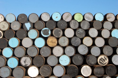A stack of whiskey barrels. (Project 404 / Flickr)