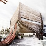 A stacked-timber design by BIG / Bjarke Ingels Group.