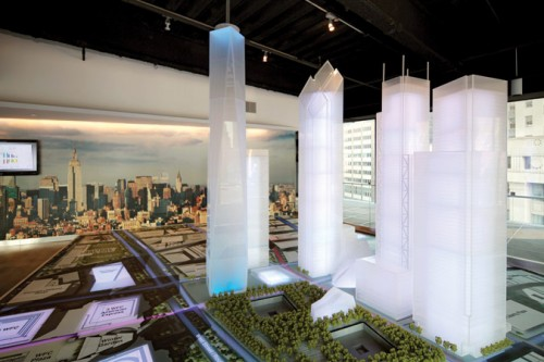The site of the proposed performing arts center sits directly east of One World Trade Center.