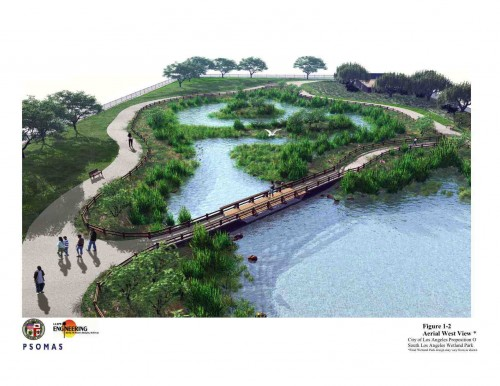 Wetlands will store and treat storm water. (image courtesy of LADPW)