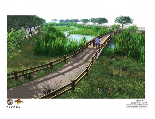 Boardwalks will carve through the new wetland site. (image courtesy of LADPW)