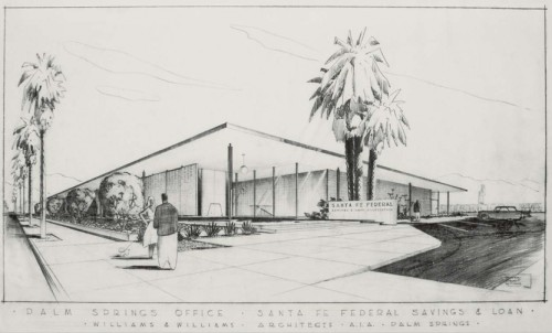 Drawing of the original bank space (Palm Springs Art Museum)
