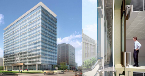 Peter W. Rodino federal building in Newark New Jersey, seals the old inside the new envelope.