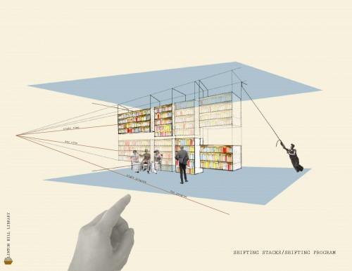 Tina Uznanski's concept for a flexible library. (Courtesy Gensler)