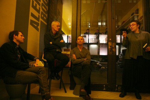From left: Slought Foundation's Aaron Levy, AN's Bill Menking, AA's Tom Weaver field questions from Van Alen's Olympia Kazi.