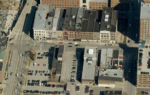 The studio's site with historic Whiskey Row to the north. (Bing Maps)
