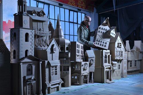 Set designer Simon Costin prepares his Dickens window display. (Simon Costin)