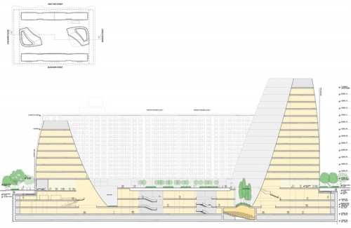 Cross section reveals expansive underground complex.
