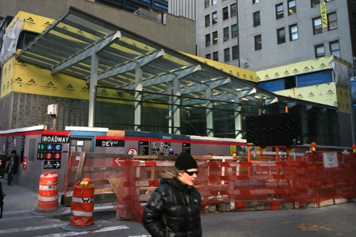 The second entrance to the Fulton Transit Center across the street from the main building on Broadway.