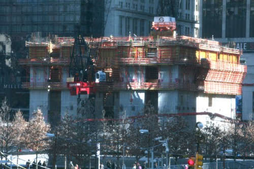Three World Trade begins to emerge on the site, but its future is in doubt.