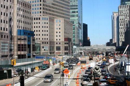 The traffic along West Street continues despite non-stop construction.