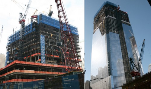 Four World Trade last winter (left) and today (right).