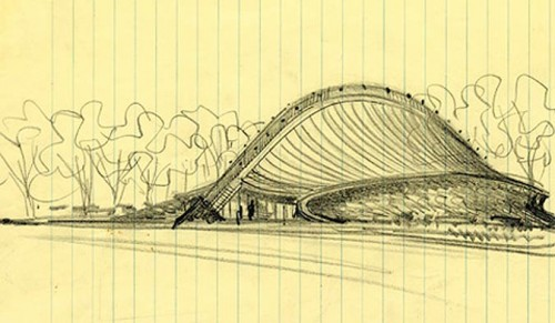 Eero Saarinen used lined composition paper for this sketch of Yale's Ingalls Rink, 1953. (Courtesy Yale)
