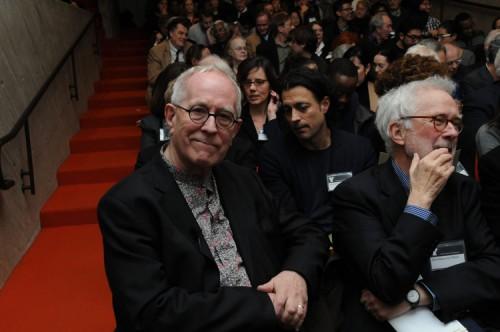 Keynote speaker Sir Peter Cook (left) and Yale's Stanislaus von Moos. (Susan Surface)