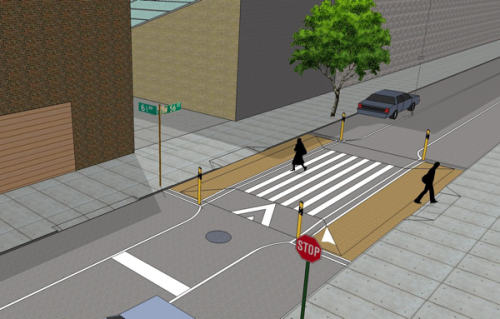 "Speedbumps and stop signs make way for the proposed ""Holly Whyte Way"" (Courtesy NYCDOT via The Observer)"
