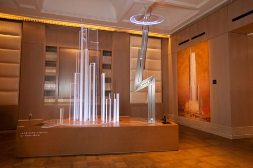 The exhibit features models of built and unbuilt works by Walker. The plexi towers (left) were from an unbuilt waterfall, while the lightning bolt (right) was from the 1939 Worlds Fair.