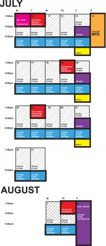 ONE Lab: Summer Session 2012 on Future Cities Schedule. (Courtesy Terraform ONE)