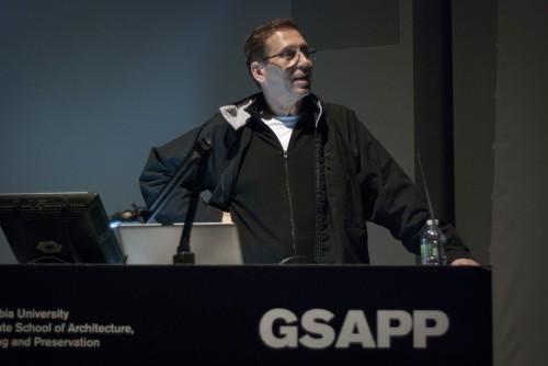 "Brett Steele at ""What Is NY-LON?"". (Lindsay Kunz, Columbia University GSAPP)"