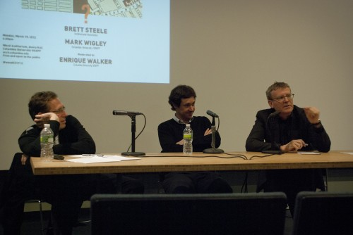 "Brett Steele, Enrique Walker, and Mark Wigley at ""What Is NY-LON?"". (Lindsay Kunz, Columbia University GSAPP)"