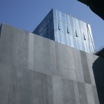 The exterior facade has more than 350 matte gray panels (Courtesy Lafarge Ductal)