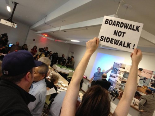 Demonstrators at the Design Commission Meeting mobilized on their Save Coney Island Facebook page.