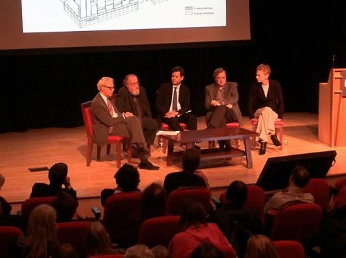 The MAS panel debated NYU's 2031 proposal: from left, John Alschuler, Ron Shifman, Brad Hollyman, Gary Hack, and Hilary Ballon.