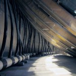 The tank's original FRP ribs were reused (Monterey Bay Aquarium)