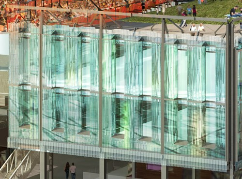 The second and third story will combine channel glass with vision glass with 12-inch setbacks every four feet.