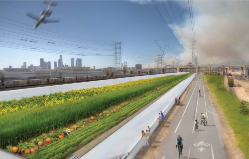 Tom Kosbau's winning vision for the Drylands Design Competition uses the LA River as a fertile agrarian center.