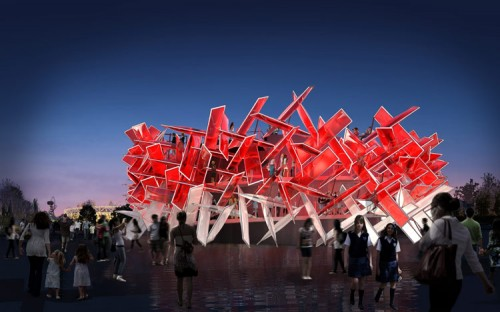 Night rendering of the Coca-Cola Beatbox Pavilion (image courtesy of Pernilla and Asif).