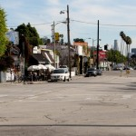The street before conversion into a pedestrian plaza. (Courtesy Living Streets LA)