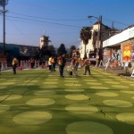 Workers put the finishing touched on Sunset Triangle Plaza. (Courtesy Rios Clementi Hale Studios)