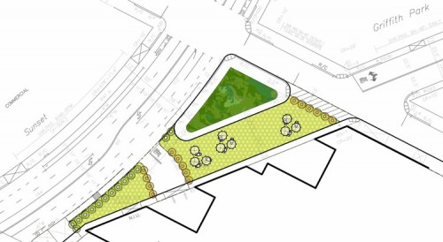 A plan of the new pedestrian plaza along Sunset Boulevard. (Courtesy Rios Clementi Hale Studios)