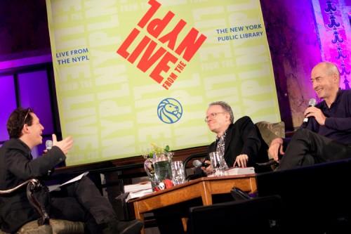 Paul Holdengraber (left) talks with Ulrich Obrist (center) and Rem Koolhaas (right). (Jori Klein)