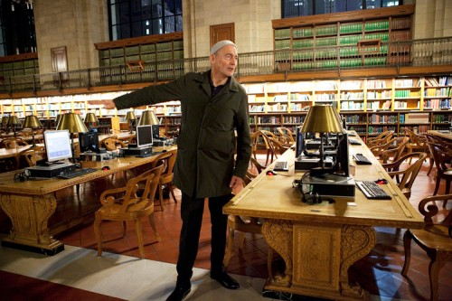 Koolhaas points to the desk at the NYPL where he wrote Delirious New York. (Jori Klein)