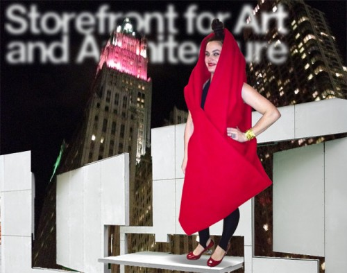 Storefront Director Eva Franch and the red Woolworth Building. (William Menking)