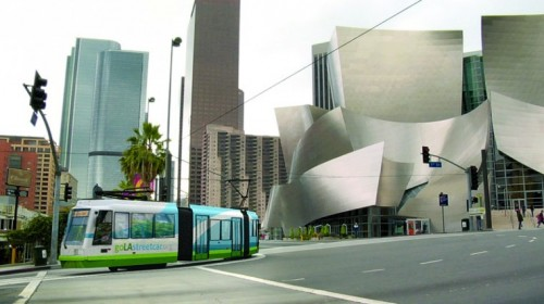 Rendering of the proposed streetcar (LA Streetcar Inc)