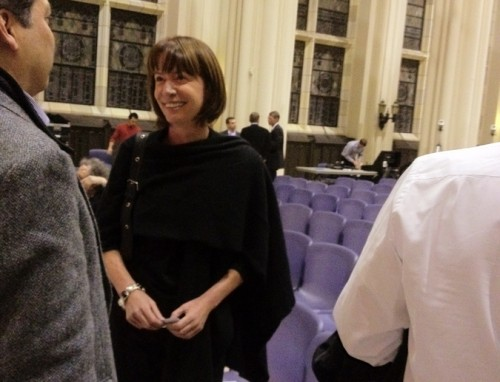 DOT Commissioner Janette Sadik-Khan in City College's Shephard Hall after the lecture.