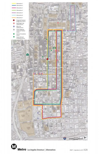 Five original streetcar route alternatives have been narrowed to alternative 7. (METRO)