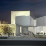 Sculpture garden and west-facing facade at night (Courtesy Steven Holl Architects)